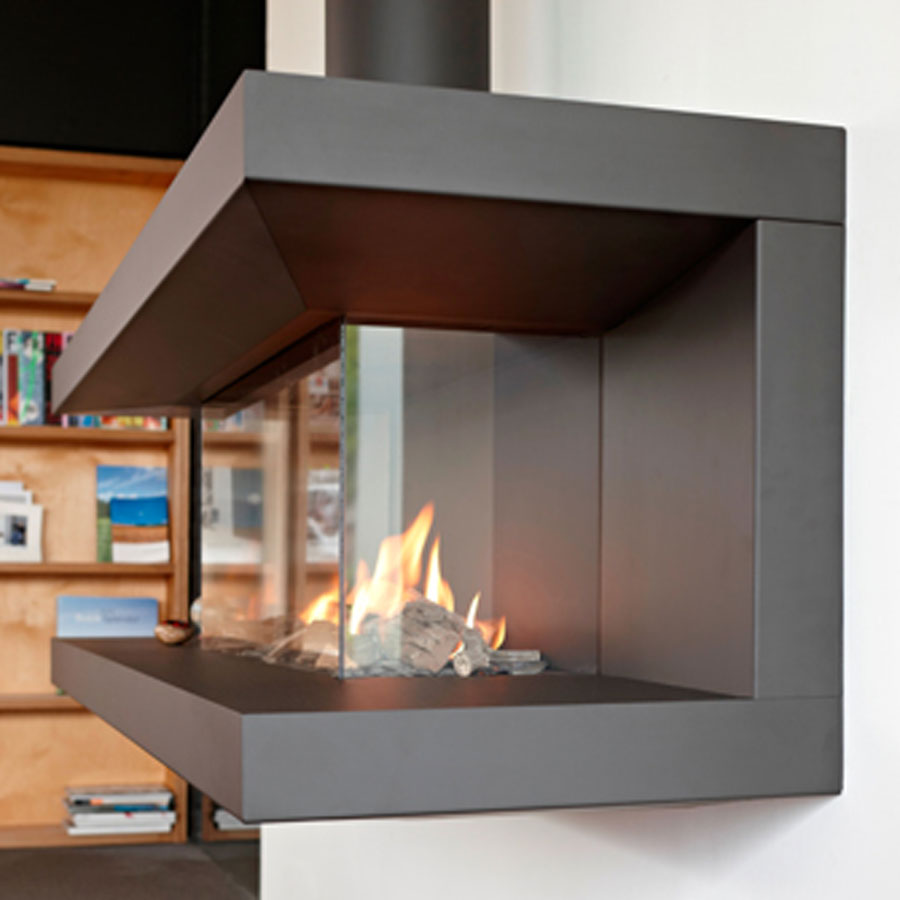 Lineafire fireplaces 3 sided 70 for Open sided fireplace