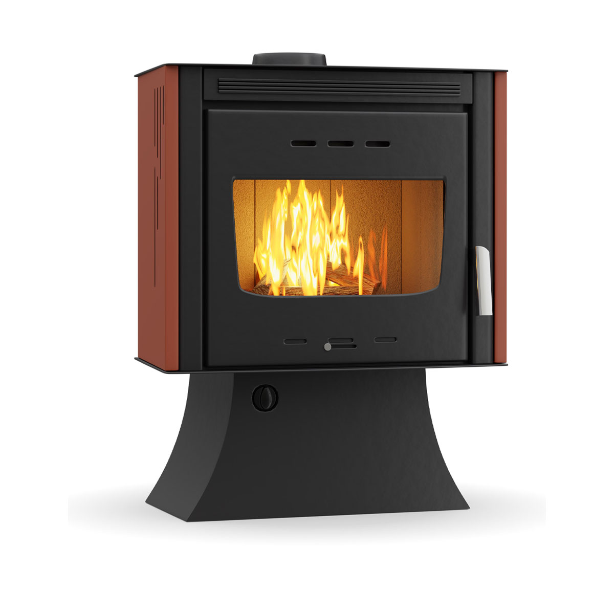 THERMIKI Wood Stove Boiler  100 Aero + Fan Black