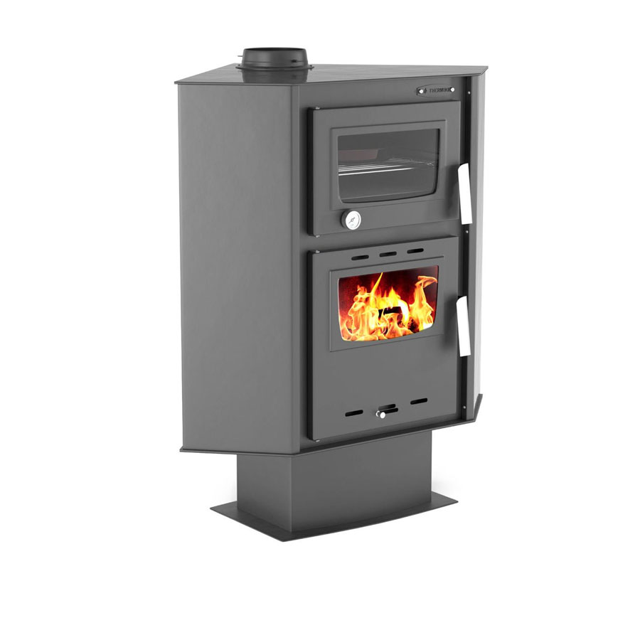 THERMIKI Wood Stove with oven Corner 90-30