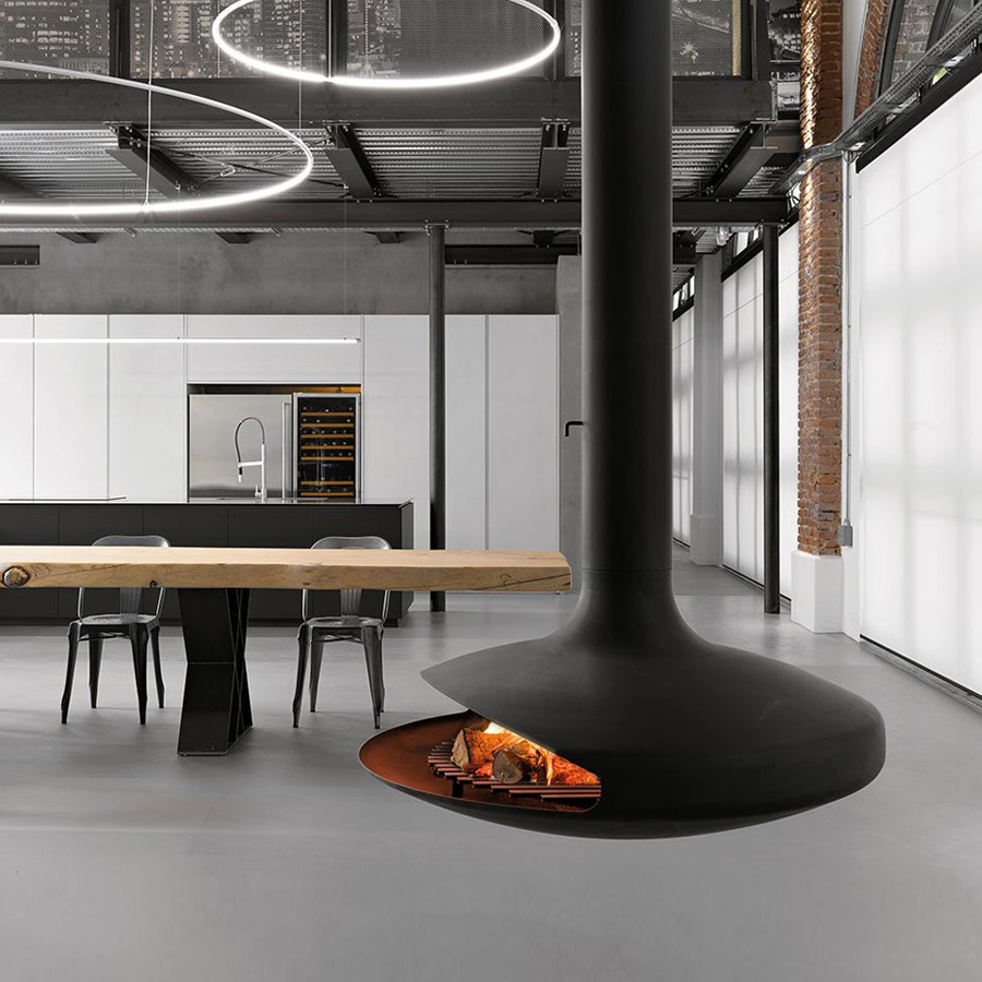 FOCUS FRANCE Wood Fire Central Gyrofocus Black