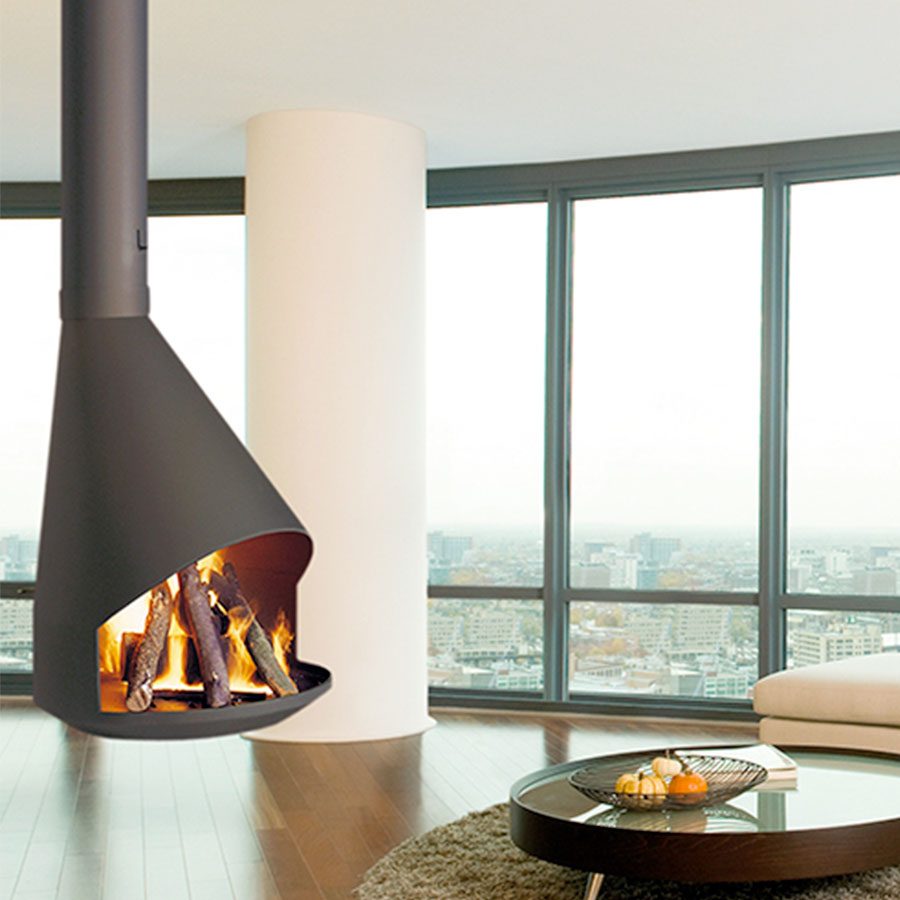 TRAFORART SPAIN Wood Fire Central Hera Grey Antracite