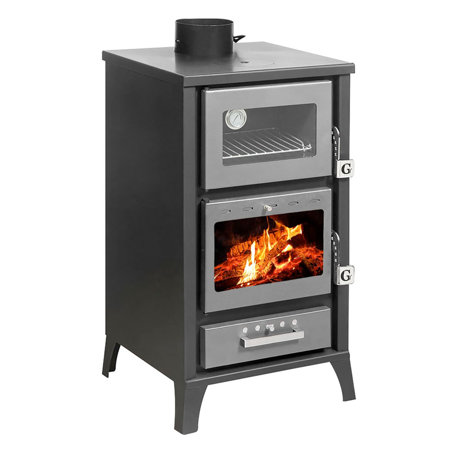 GEKAS GREECE Wood Stove with Oven MG 400 Silver