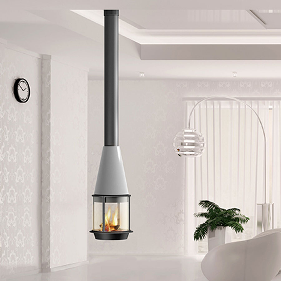 TRAFORART SPAIN Wood Fire Central Arlete 121 With Glass White