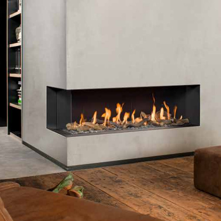 BELLFIRES HOLLAND Gas Fireplace Corner Left XL3, Hidden door, steel