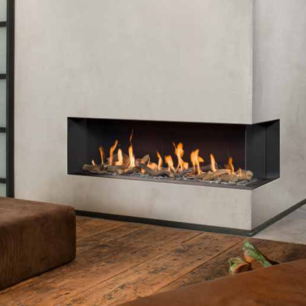 BELLFIRES HOLLAND Gas Fireplace Corner right XL3, Hidden Door, Steel