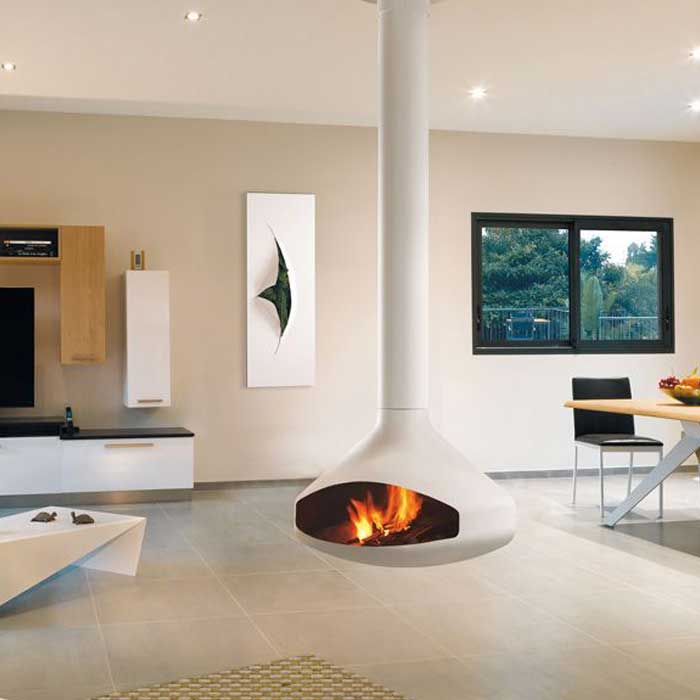 FOCUS Wood Fireplace Central Ergofocus White