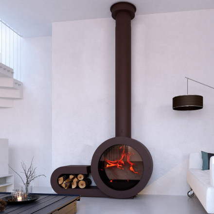 CLDESIGN SPAIN Wood Fireplace Ominfrontal + Laterally Wood Stocke