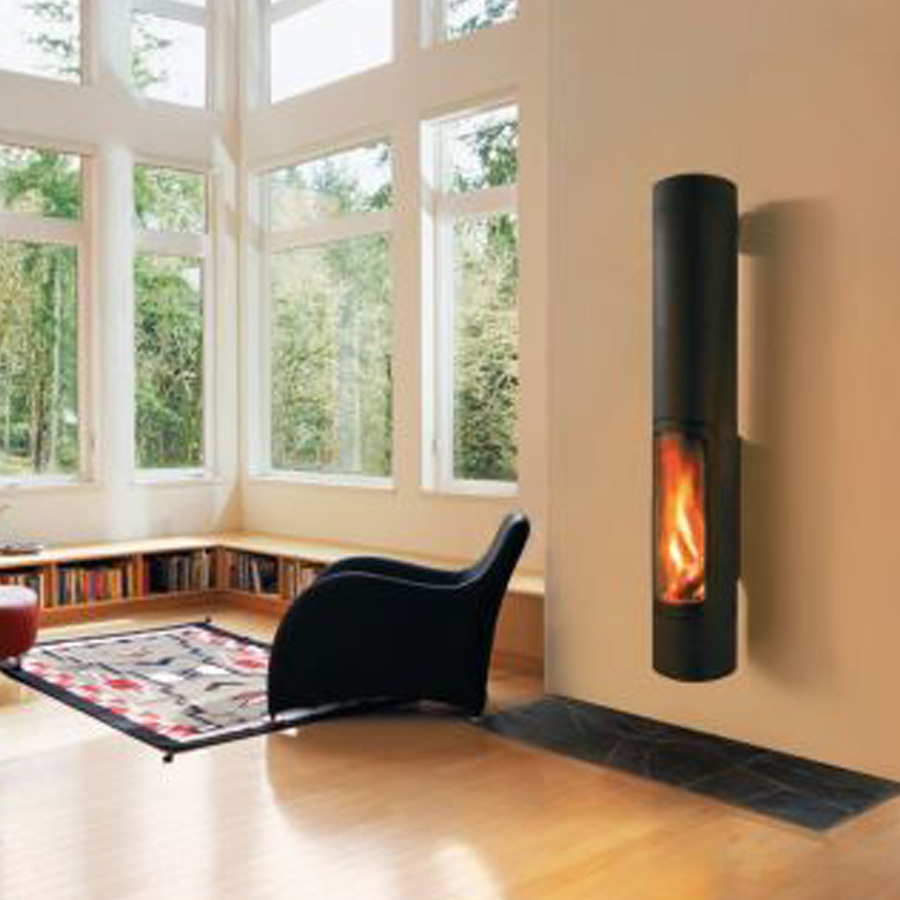 FOCUS FRANCE Wood Fire Frontal Slimfocus Wall Mounted Black