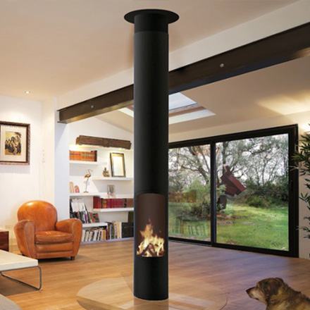 FOCUS FRANCE Wood Fire Central Slimfocus with Base