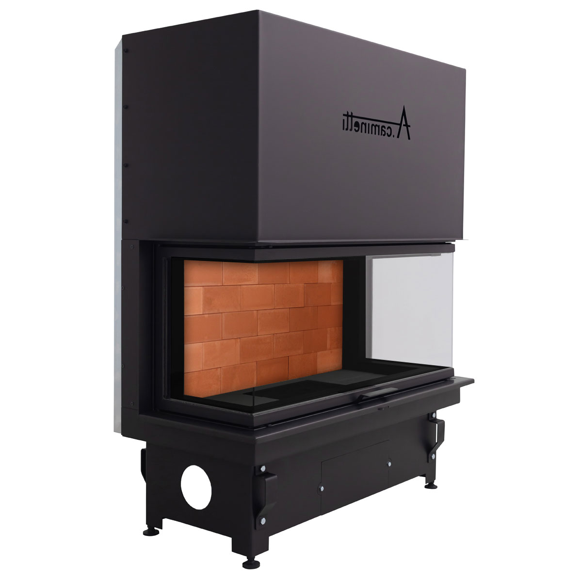 ACAMINETTI Wood Fireplace 3-Sided Crystal 110 Max Red bricks