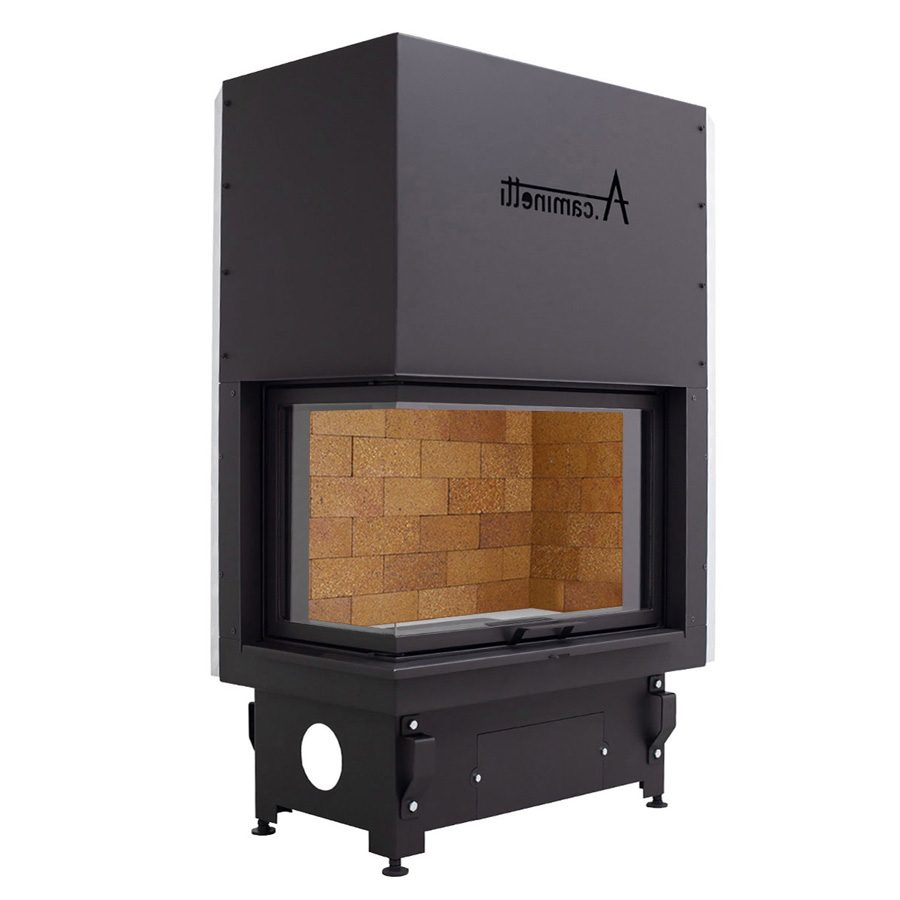 ACAMINETTI Wood Fireplace Corner Left 90 Max Rustic