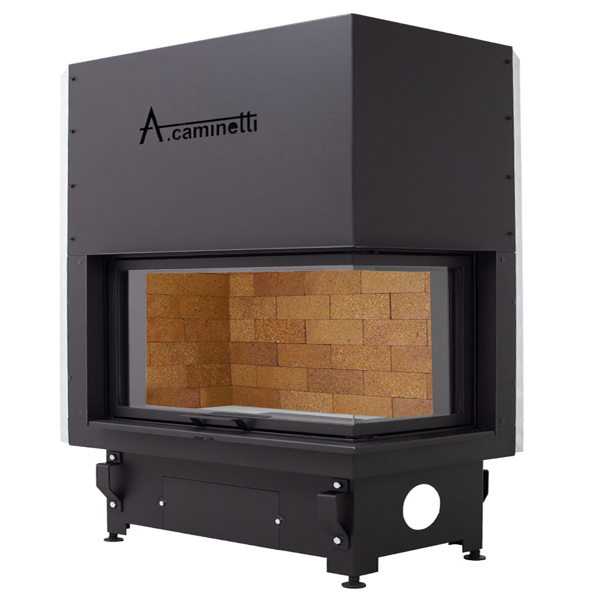 ACAMINETTI Wood Fireplace Corner Right 120 Max Rustic