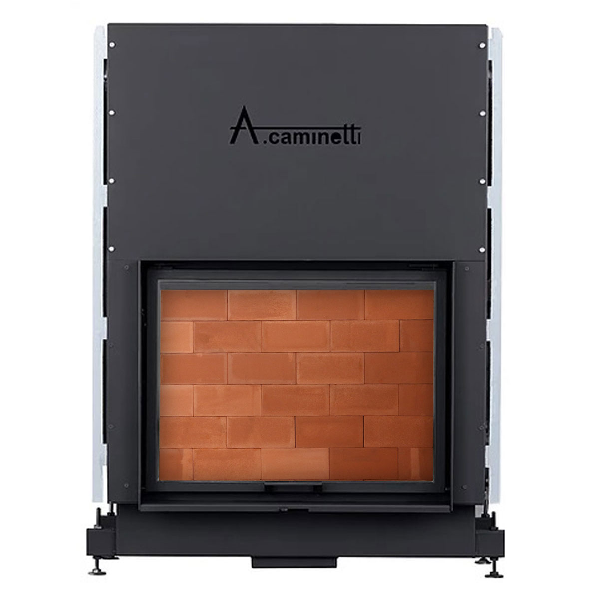 ACAMINETTI ITALY Wood Fireplace Horizon 120 Red Bricks