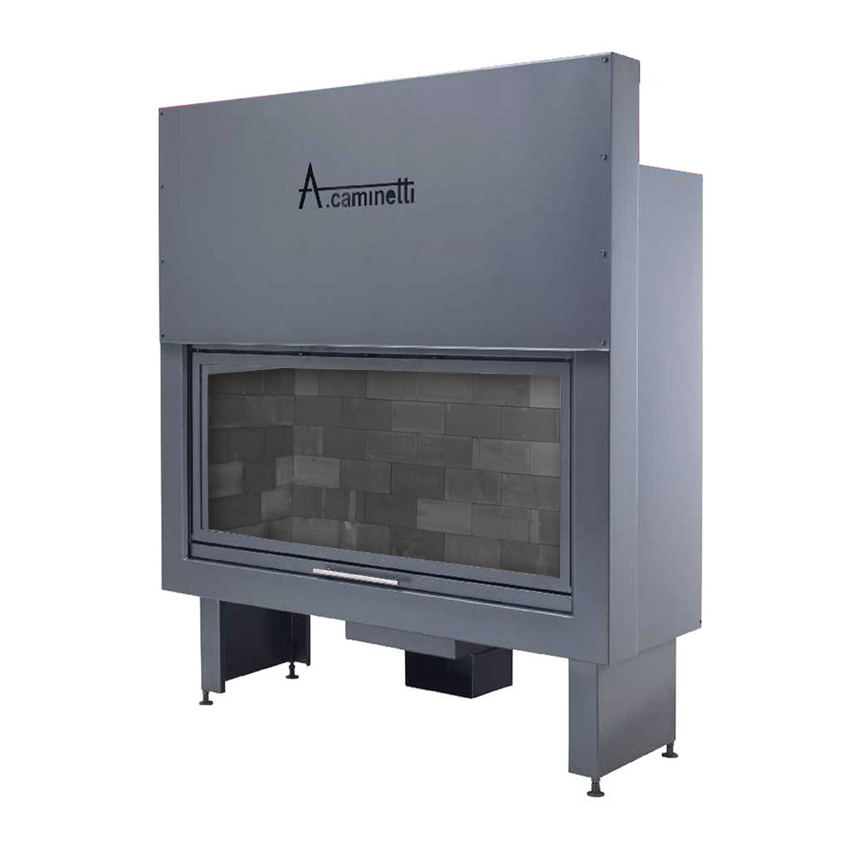 ACAMINETTI Wood Fireplace Horizon 140 with Black Bricks