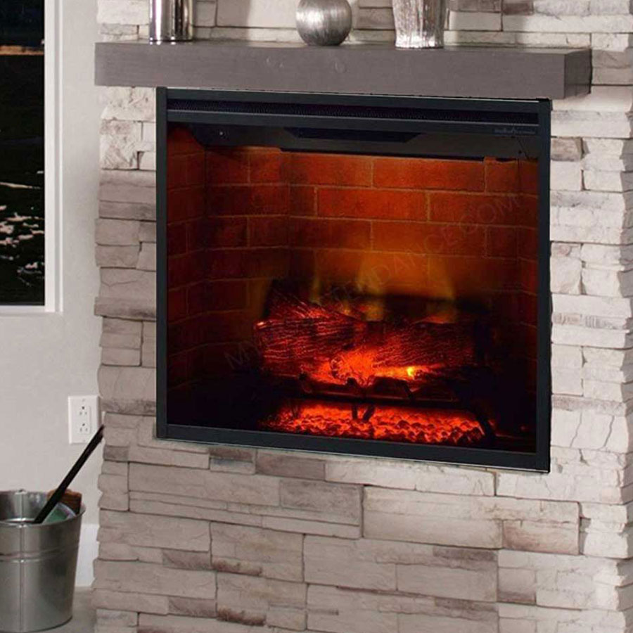 DIMPLEX IRELAND Electric Fireplace Red Brick Black Panel