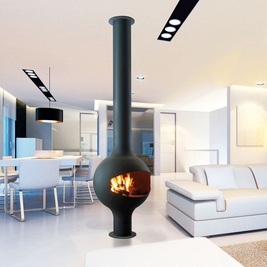 FOCUS FRANCE Gas Fire Central Bathyscafocus Open with Leg
