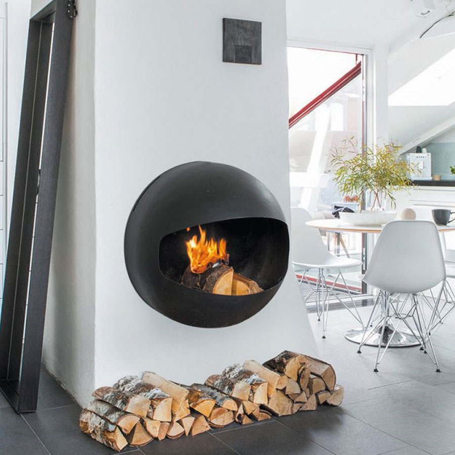 FOCUS FRANCE Wood Fire Frontal Emifocus Rear Outlet Black