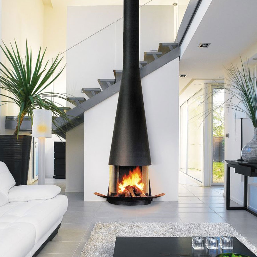 FOCUS FRANCE Wood Fire Central Filiofocus 2000 Glassed Black