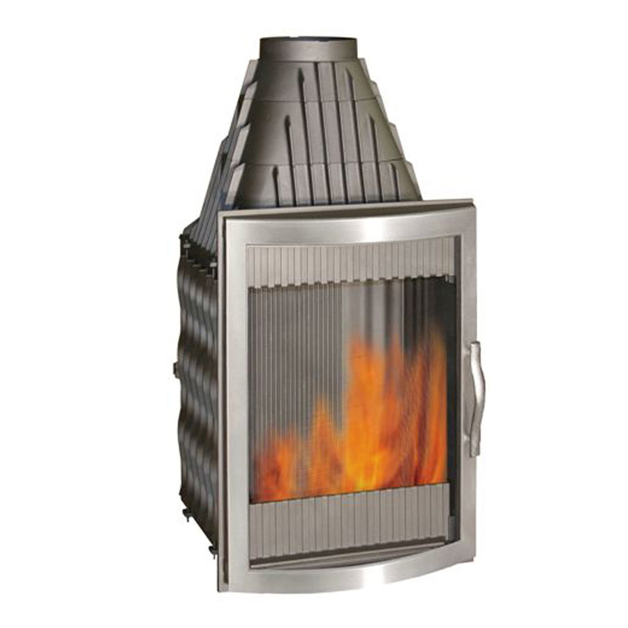 INVICTA FRANCE Wood Fireplace Vertical Panoramic Inox