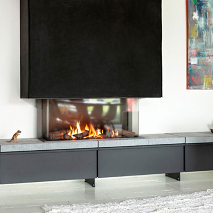 LINEAFIRE UK Gas Fireplace 3-Sided 100