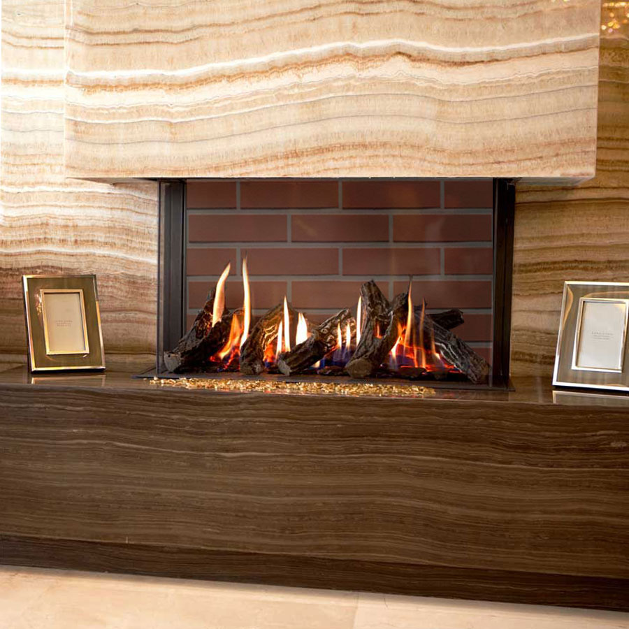 LINEAFIRE UK Gas Fireplace 3-Sided 70 Rustic