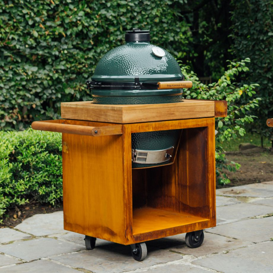 OFYR Kamado Table Corten 65 PRO Teak Wood BGE