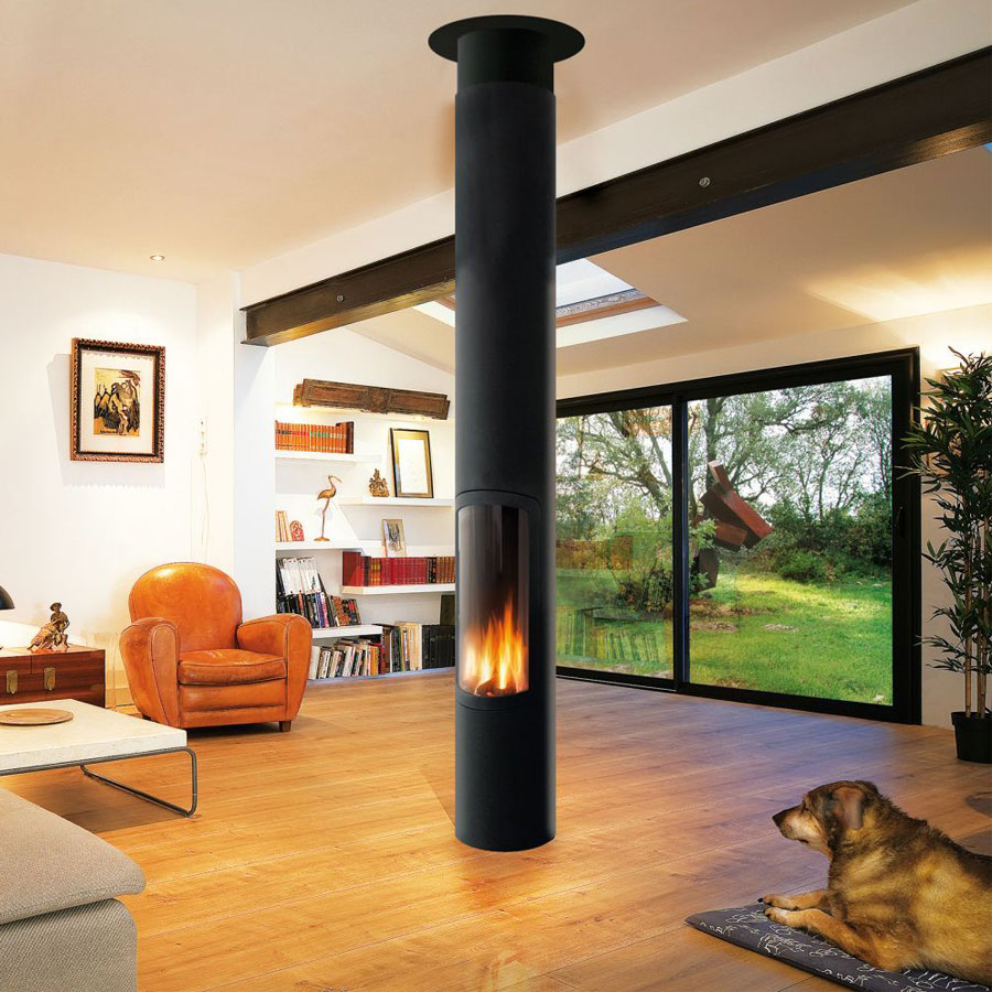 FOCUS Gas Fire Central Slimfocus with a base, balanced flue