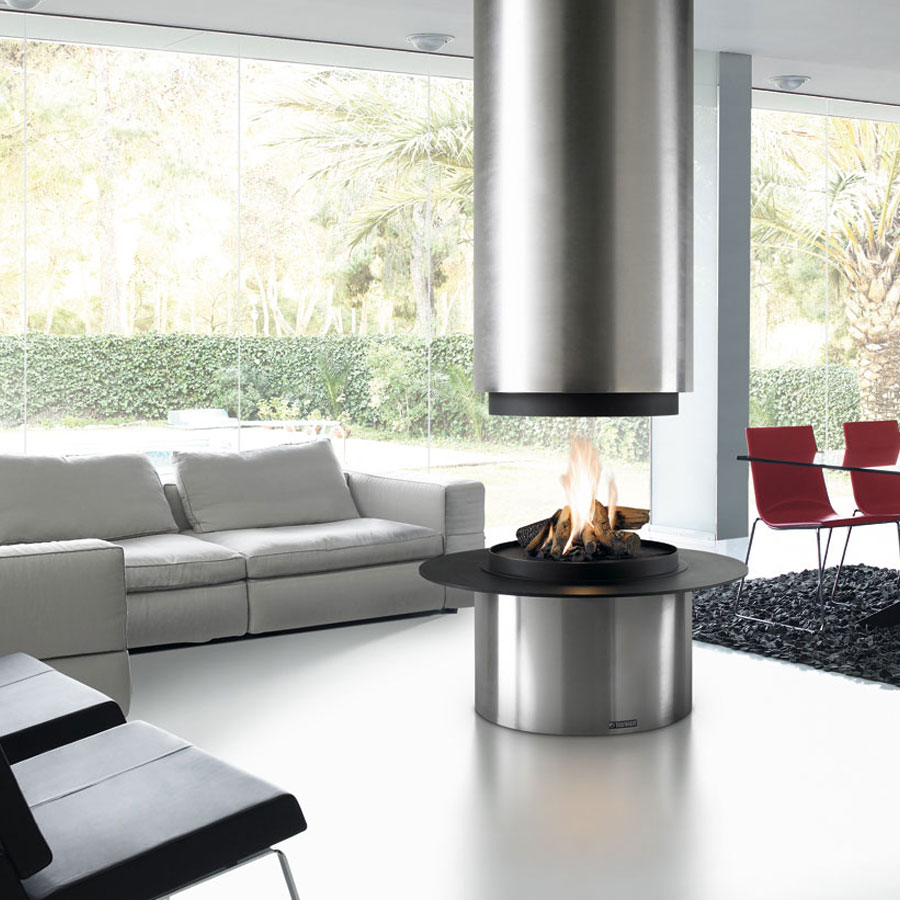TRAFORART Wood Fireplace Central Diamante Without Glass Stai