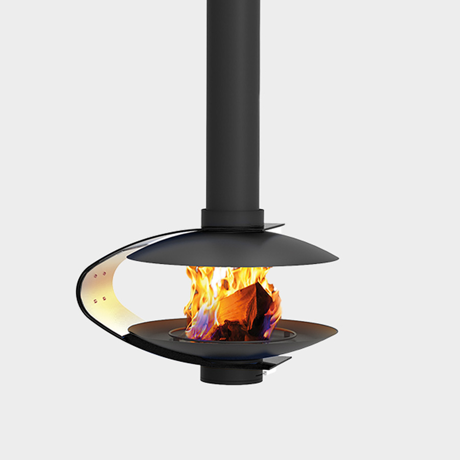 TRAFORART SPAIN Wood Fireplace Central Fanny Black