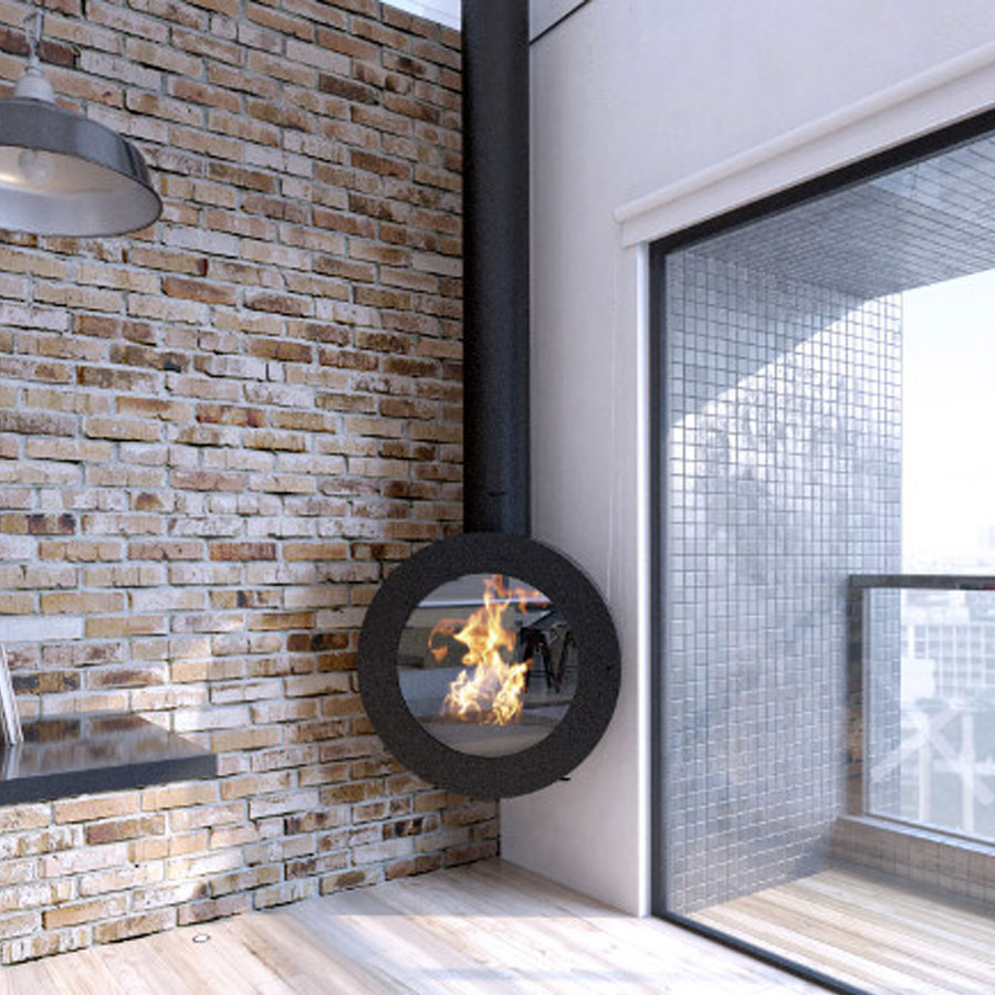 CLDESIGN SPAIN Wood Fireplace O800 Angle
